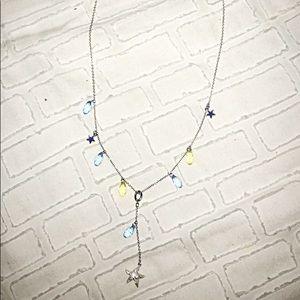 Swarovski Crystal Silver Starfish Droplet Necklace